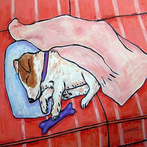 Jack Russell Dog Sleeping on a couch dog art tile coaster gift