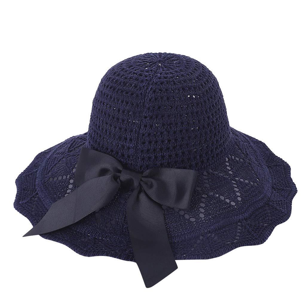 Transser Womens Foldable Straw Cap UV Protection Wide Brim Sun Hat Bridal Cap for Tea Party Wedding Hat