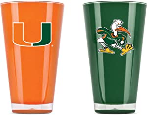 NCAA Miami Hurricanes 20oz Insulated Acrylic Tumbler Set of 2