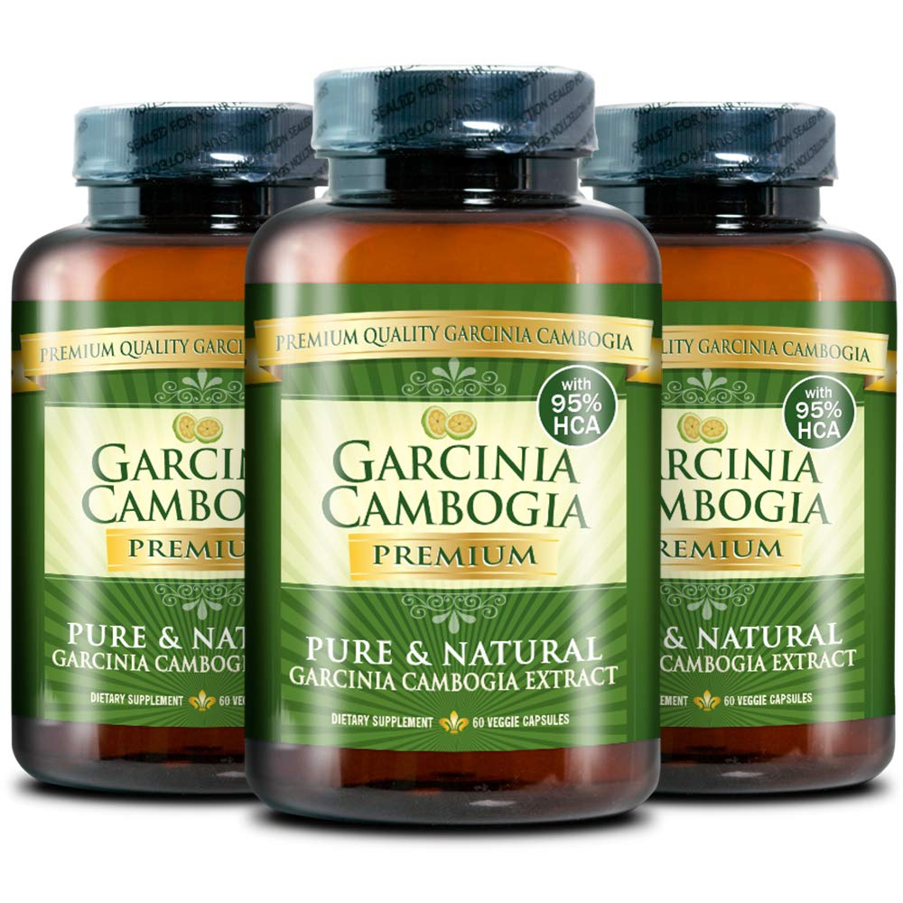Garcinia Cambogia Premium 95% HCA - Best Natural Weight Loss, Quick Fat Burner and Appetite Suppressant - 180 Vegan Capsules, 3 Months Supply - 100% Money Back Guarantee! by Garcinia Cambogia Premium (Image #1)