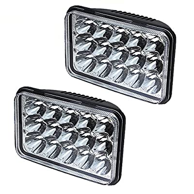 AOSI Pair 4x6 LED Headlight 15 Cree Chip Sealed Beam Replacement HID Xenon H4651 H4652 H4656 H4666 H6545 With H4 Plug Clear glass lens