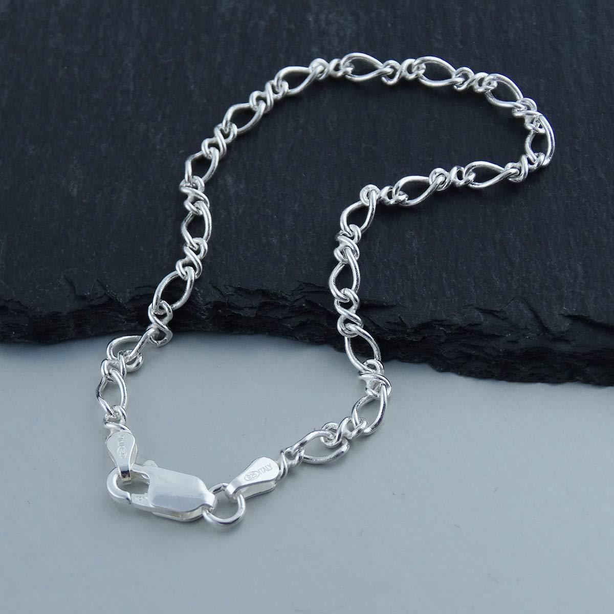 FashionJunkie4Life Sterling Silver Figure 8 Link Charm Bracelet Lobster Clasp 7 or 8 Length