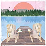 Ideal Home Range C005600 3-Ply Paper Cocktail Napkins, Sunday Lake Chairs, 20 Count