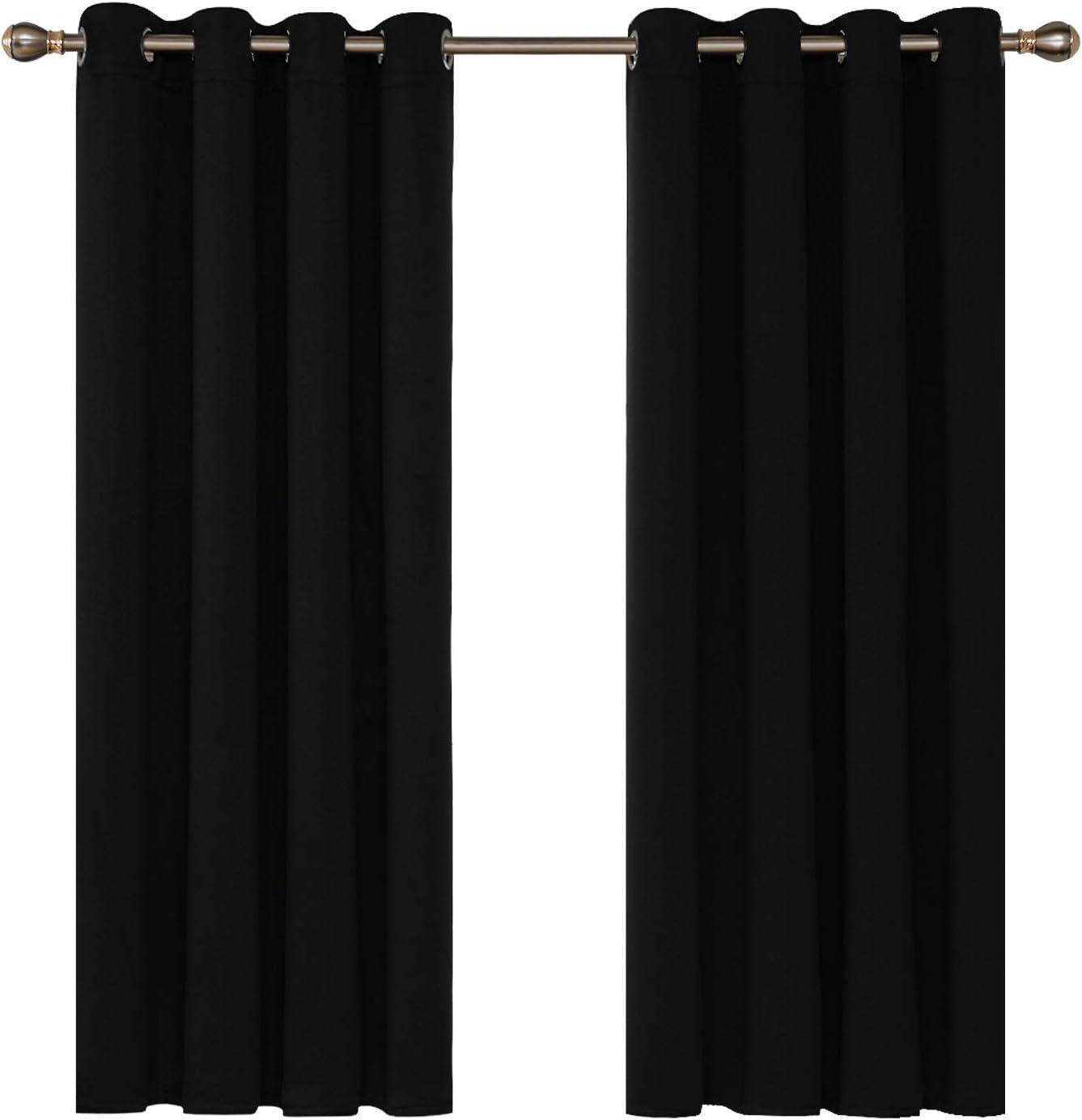 Deconovo Cortinas Opacas para Ventanas de Salón y Cocina con Ojales Aislamiento Térmico 2 Paneles 140 x 180 cm Negro