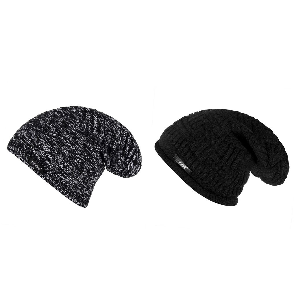 6adc4b2a68c Noise Combo of Black-White Textured and Black Cross Knitted Winter Beanie  Cap  Amazon.in  Sports