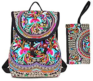 Embroidery Backpack Purse for Women Vintage Handbag Small Drawstring Casual Travel Shoulder Bag Daypack. (2 Bags:Red Flowers)