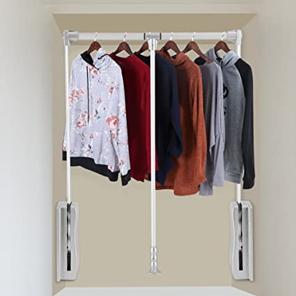 Wardrobe Hanger, Lift Pull Down Wardrobe Rail Adjustable Width Wardrobe  Clothes Hanging Rail Soft Return