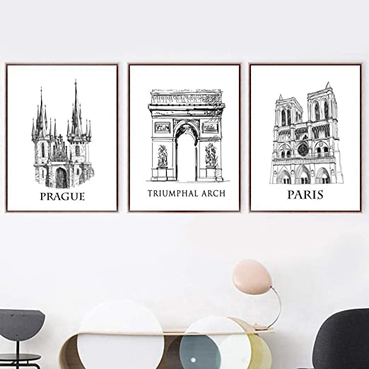 Suuyar 3 Piezas Praga París Arco Triunfal Cartel Nórdico Y ...