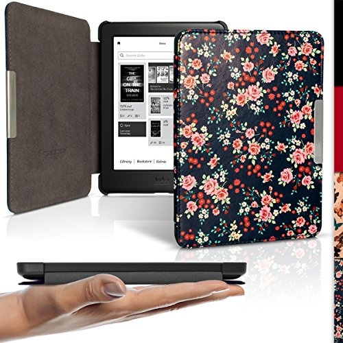 iGadgitz 'Designer Collection' Pink Rose Floral Pattern Slim PU Leather Shell Case Cover for Kobo Glo HD, Kobo Touch 2 with Sleep Wake & Magnetic Closure - Pattern Plastic Hardback Cover