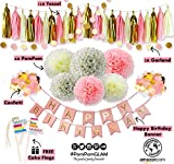 THE COMPLETE BIRTHDAY's Pink Gold Party Decorations Kit for First Baby Girl Shower, Bachelorette, Bridal & Wedding event - Premium Quality PomPomGLAM
