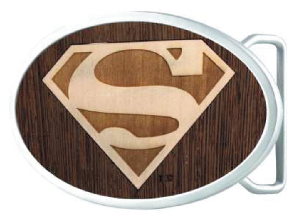 Superman DC Comics Superhero Wood Shield Logo Oval Rockstar Belt Buckle Buckle Down