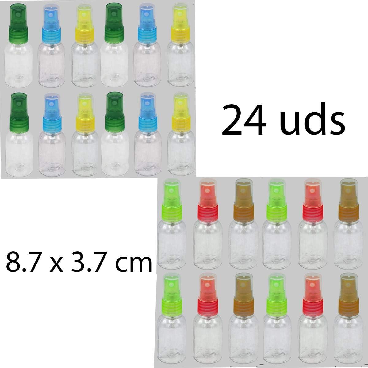 ALLPER Botella Spray vacia de 30 ML Aprox, 24 Botes, Diversidad DE Colores,serán elegidos al Azar. Pulverizador para rociar Agua o líquidos,Maquillaje etc.