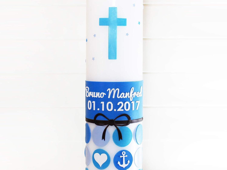 Taufe Kerze/ Box mit Schleife /Taufe Kerze f/ür einen Jungen