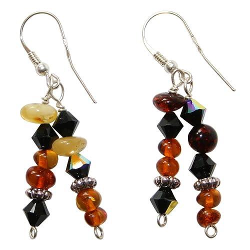 d2e8797575 Graziosi orecchini di ambra Kombi in Nero, Cognac e giallo per donna ...