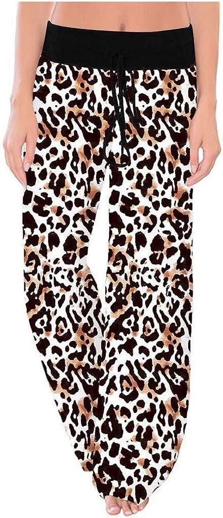 Pantalones Mujer Yoga Anchos Tallas Grandes Primavera LuckyGirls 2020 Chic Pantalones Chandal Mujer Verano Deportivos Elasticos Cuadros Pantalones Cintura Alta Rectos Vestir Leopardo