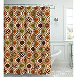 Curtains Ideas Creative Home Ideas Faux Linen 13-Piece Shower Curtain with Metal Roller Hooks, Olina (Rust)