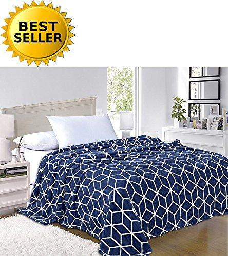 Elegant Comfort #1 Fleece Blanket on Amazon - Super Silky Soft - SALE - All Season Super Plush Luxury FLEECE BLANKET Full/Queen Cube Design Navy Blue