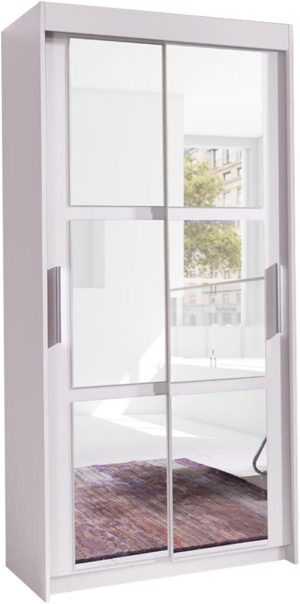 Armario cuadros 120, moderno Dormitorio Armario con espejo, 120 x ...