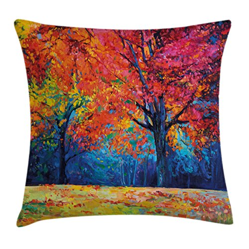 Falling Leaves Picture (Nature Throw Pillow Cushion Cover by Ambesonne, Colorful Trees and Falling Autumn Leaves Seasonal Art Picture, Decorative Square Accent Pillow Case, 20 X 20 Inches, Navy Blue Vermilion and Pink)