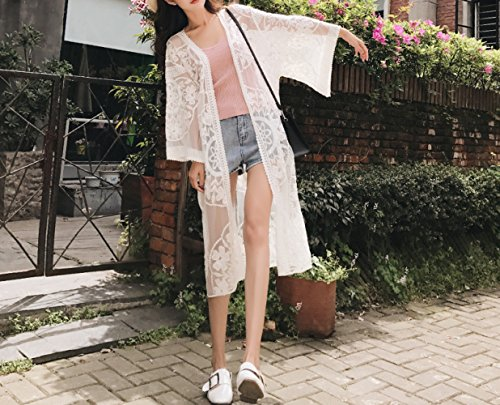 MOM Sun protection clothing lady small shawl thin jacket wild air conditioning shirt spring and summer outside lace cardigan in the long section,white,Average code by MOM