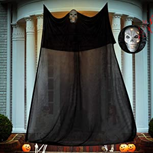 Halloween Hanging Ghost Decorations Black Hanging Ghost Prop Scary Skeleton Flying Ghost with Skeleton LED Glowing Eyes and Creepy Sound Halloween Party Decor for Yard Outdoor Indoor Haunted House