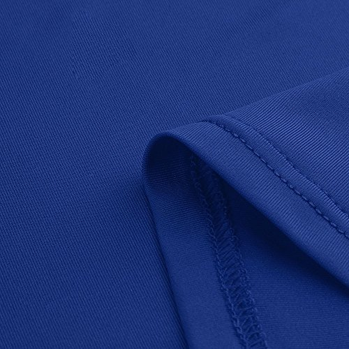 Ladies Sexy Dress,LuluZanm Women Short Sleeve Solid V-Neck Slim Casual Mini Beach Dress Blue by Luluzanm-Dress (Image #2)