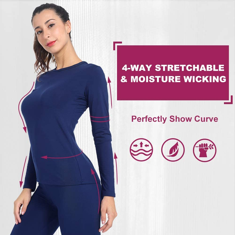 MANCYFIT Womens Thermal Tops Fleece Lined Shirt Long Sleeve Base Layer 2 Pack