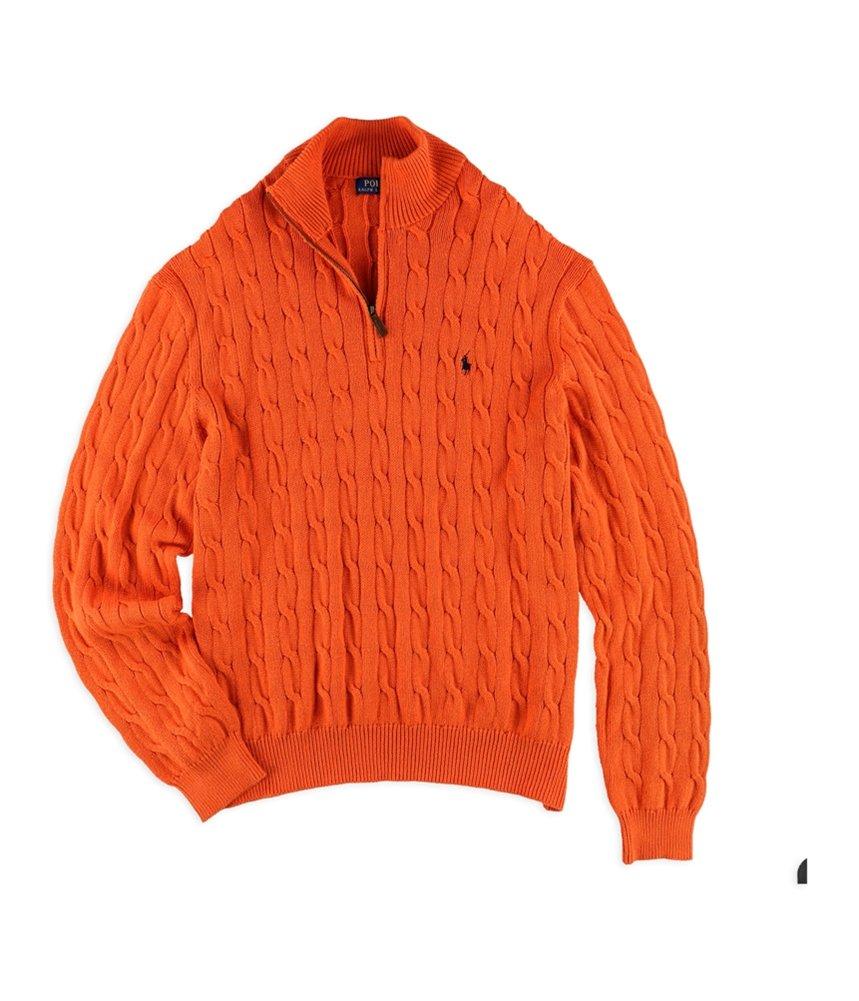 Polo Ralph Lauren Men's Cable-Knit Mock Neck Sweater, S, Orange by Polo Ralph Lauren