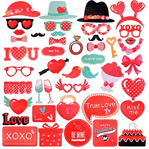 Valentines Photo Booth Props,Valentine Day Decor PhotoBooth Prop For Wedding Anniversary Party - Valentines Fun Dates Day