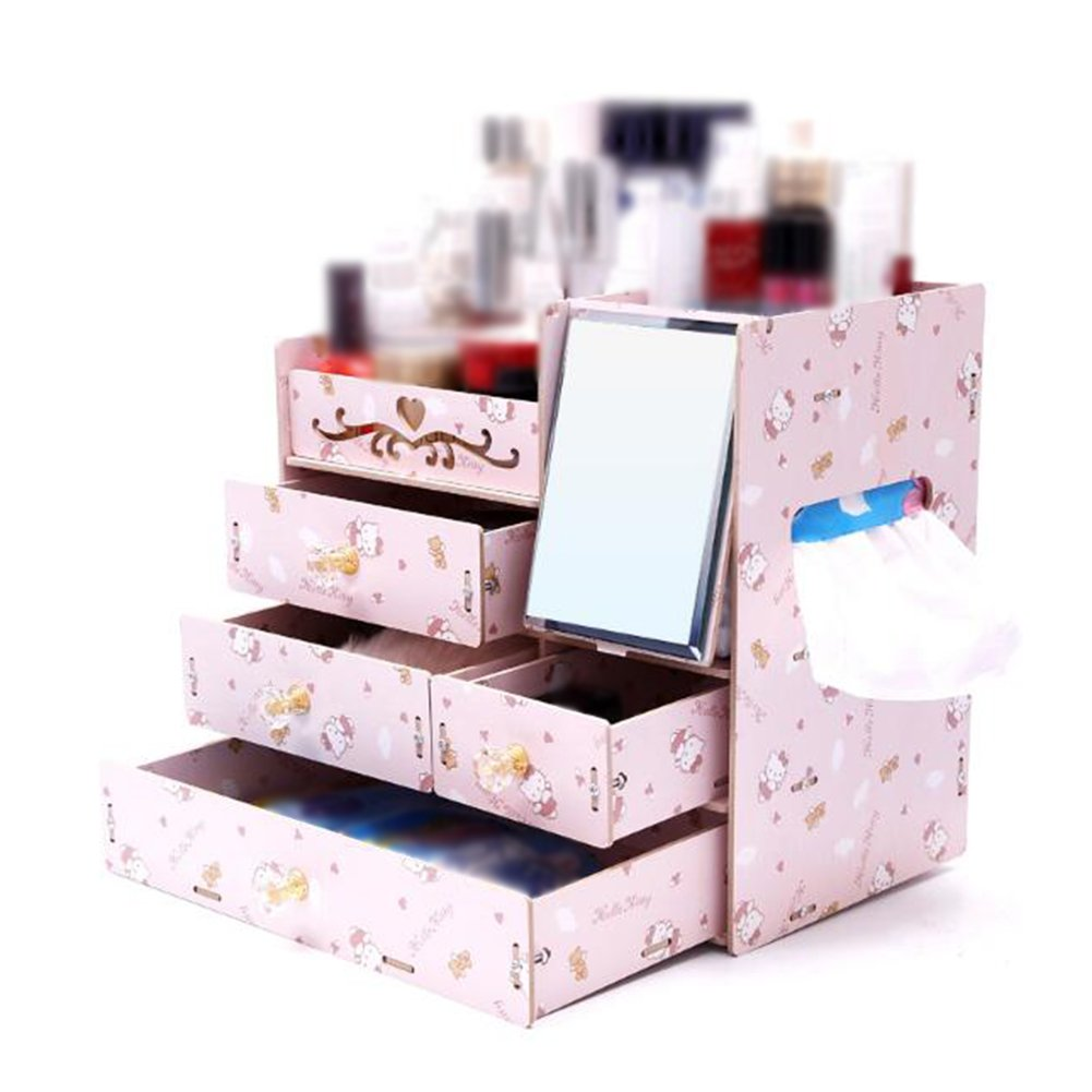 Amazon.com: CJC Storage Box Wooden Desktop Band Mirror Cosmetic Jewelry Protection Skin Product Drawer Formula Dressing Box (Color : A): Home & Kitchen