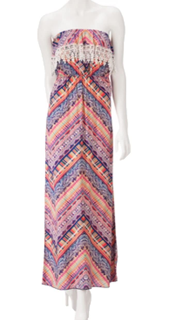 7003665ef Trixxi Womens/Juniors Geometric Corchet Trim Maxi Dress (Small,  Orange/Navy/Teal) at Amazon Women's Clothing store: