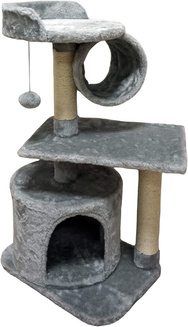 FISH&NAP Cat Tree Cat Tower Cat Condo Sisal Scratching Posts with Jump Platform and Cat Ring Cat Furniture Activity Center Kitten Play House Grey