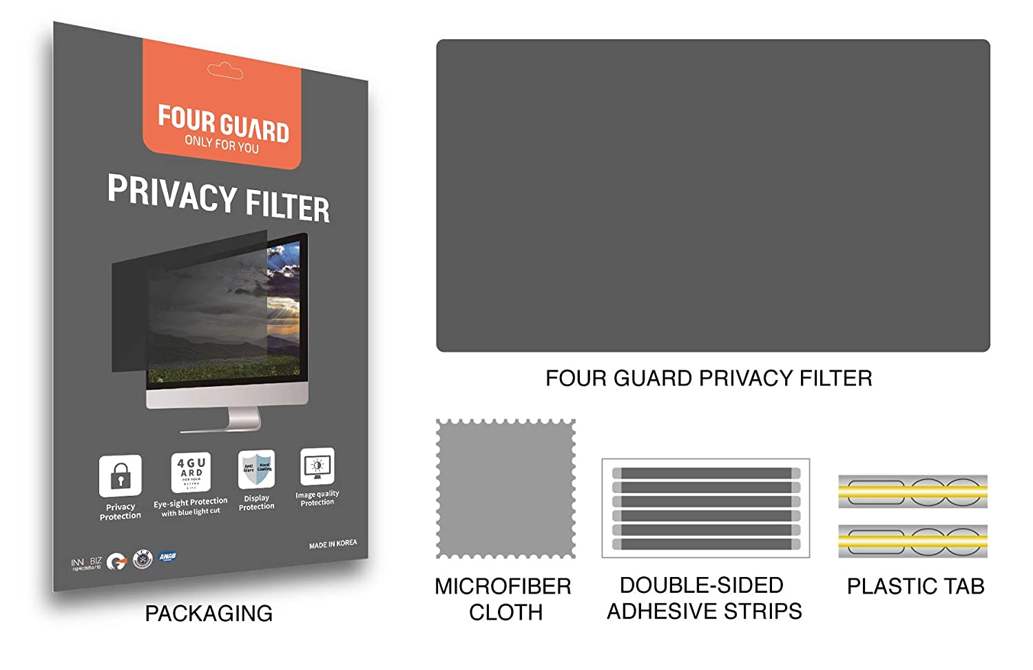 Privacy Protection Blue Light Reduction Anti Glare Anti Scratch Protector Film Four Guard Privacy Screen Filter for Computer Monitor 23.6 Inch 16:9 Widescreen
