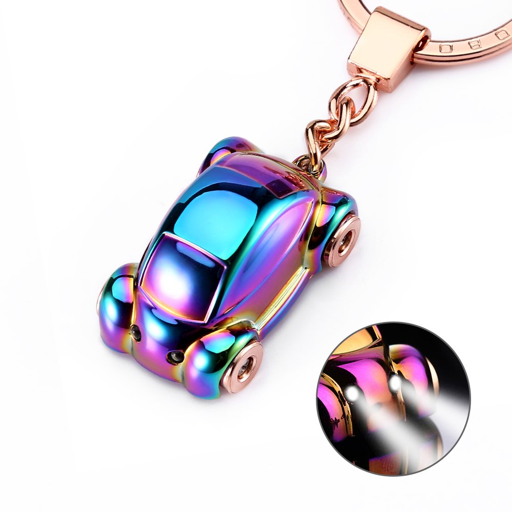 Keychain Flashlight, Jobon Zinc Alloy Car Key Chain with LED Light, Key Rings for Men, Women, Car Decorations, Perfect Christmas Gifts (Color)