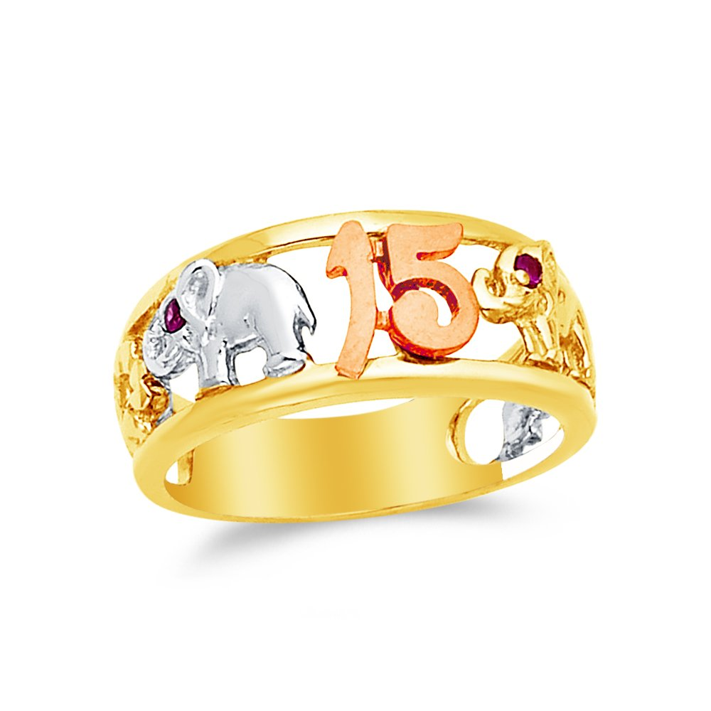5.5 Jewel Tie Solid 14k Rose Yellow /& White Gold 15 Years Birthday Elephant Ring Size