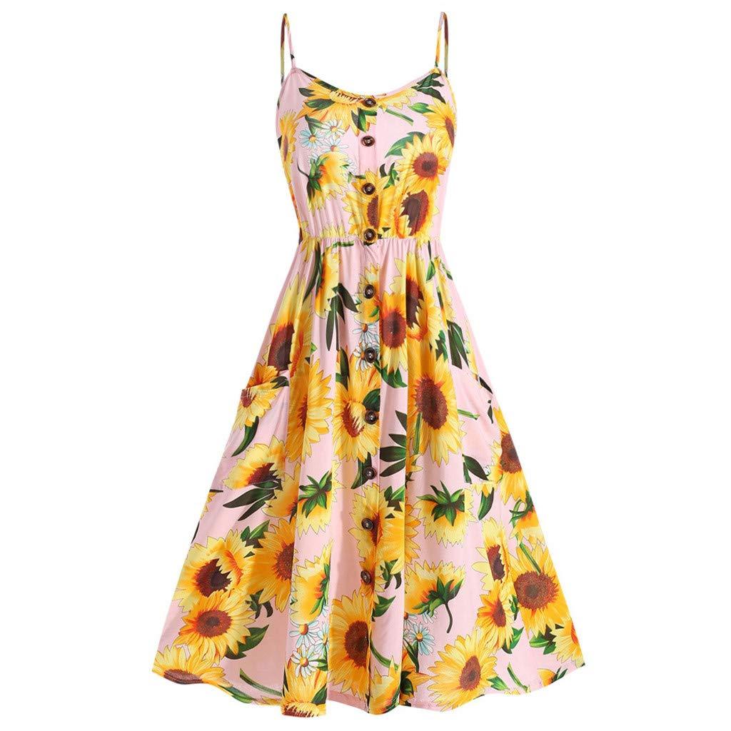 Women's Mini Button Down Beach Sundress Summer Sexy Sunflower Printed Dress Adjustable Spaghetti Strap Casual Swing Boho Dress (Yellow Pink, Asia Size:2XL)