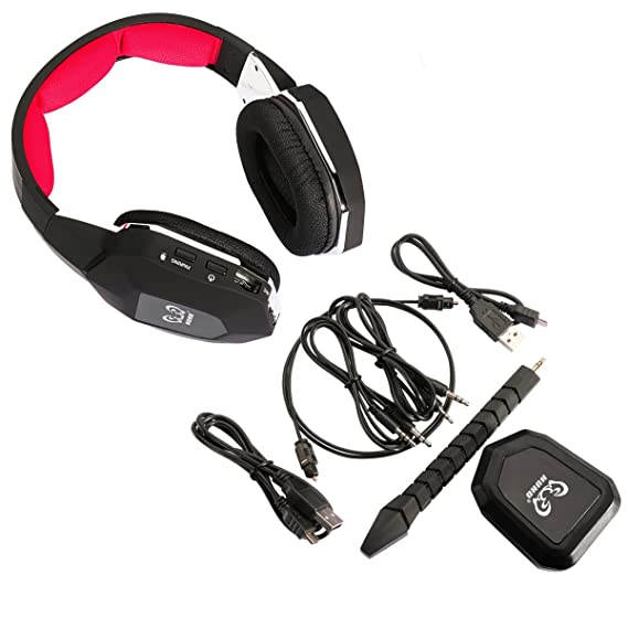 HUHD PS4 Auriculares Gaming Headset 2,4 GHz Auriculares Inalámbrico Gaming Headset Para PS4 PC Xbox 360 Xbox one PS3 con Micrófono Desmontable Audio Digital ...