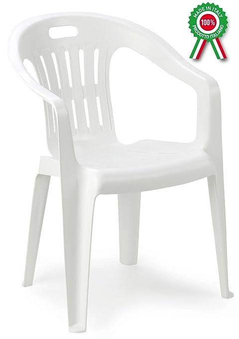 Sedie Plastica Per Giardino.Poltrona Sedia Piona In Dura Resina Di Plastica Bianca Impilabile Con Braccioli