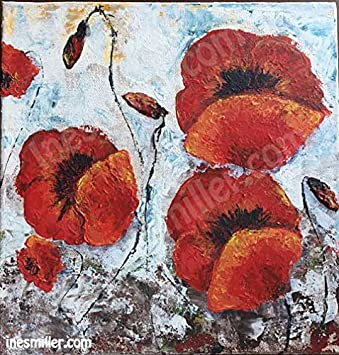 Amazon red poppies flowers pallet knife painting original red poppies flowers pallet knife painting original acrylic art painting 10quot mightylinksfo