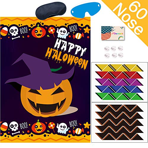 Web On Face For Halloween (Kids Halloween Party Games, Pin the Nose on the Pumpkin Game for Halloween Party Favors Birthday Party Suppiles Halloween)