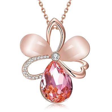 Opal Stone Clover Necklace Rose Gold Plated Swarovski Elements Crystal 4 Leaf Flower Necklace Pendant for Women CPbIXPgL