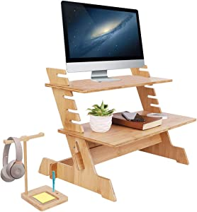 Standing Bamboo Computer Desk Stand Convertor Riser for Monitor Adjustable Height Standup Desk Top Laptop Workstation with Phone Headset Holder