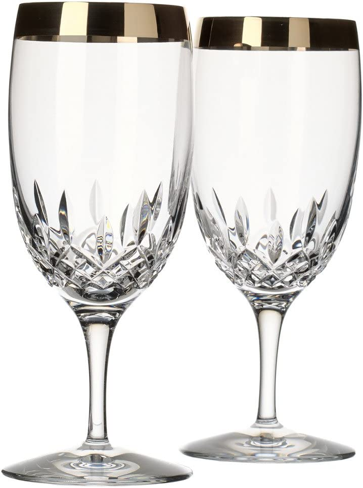 Waterford Lismore Essence Platinum Band Iced Beverage Pair