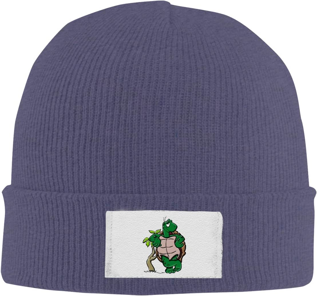 Stretchy Cuff Beanie Hat Black Dunpaiaa Skull Caps Turtle Cartoon Winter Warm Knit Hats