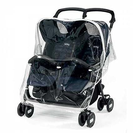 Peg Perego Rain Cover Twin - Plástico de lluvia para silla Aria Shopper Twin y Pliko Mini Twin, transparente