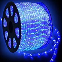 WYZworks 150' feet Blue LED Rope Lights - Flexible 2 Wire Accent Holiday Christmas Party Decoration Lighting | UL & CSA Certified