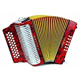 Hohner Button Accordion Corona II Classic FBbEb, With Gig Bag, Straps And Adjustable Bass Strap, Pearl Red
