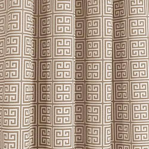 Window Elements Greek Key Cotton Blend Extra Wide 108 x 96 in. Grommet  Curtain Panel Pair, Taupe