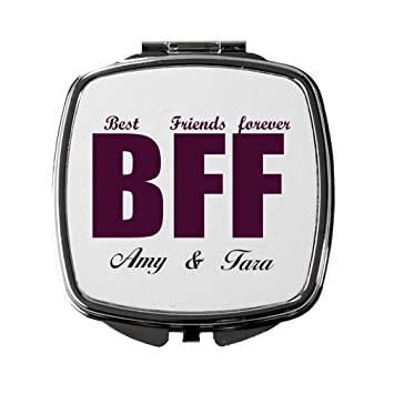 bb21b85f94b Image Unavailable. Image not available for. Color  Personalized Custom Text Friend  Best Friends Forever BFF Metal Compact Mirror