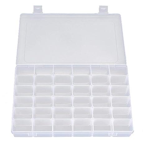 HOBOYER - Caja organizadora de Joyería de plástico Transparente, contenedor de Almacenamiento con separadores Ajustables